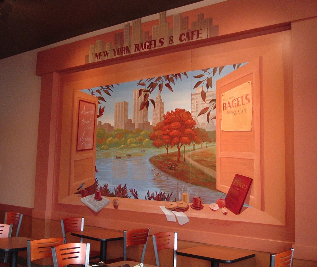 Restaurant and cafeteria murals on removable panels.