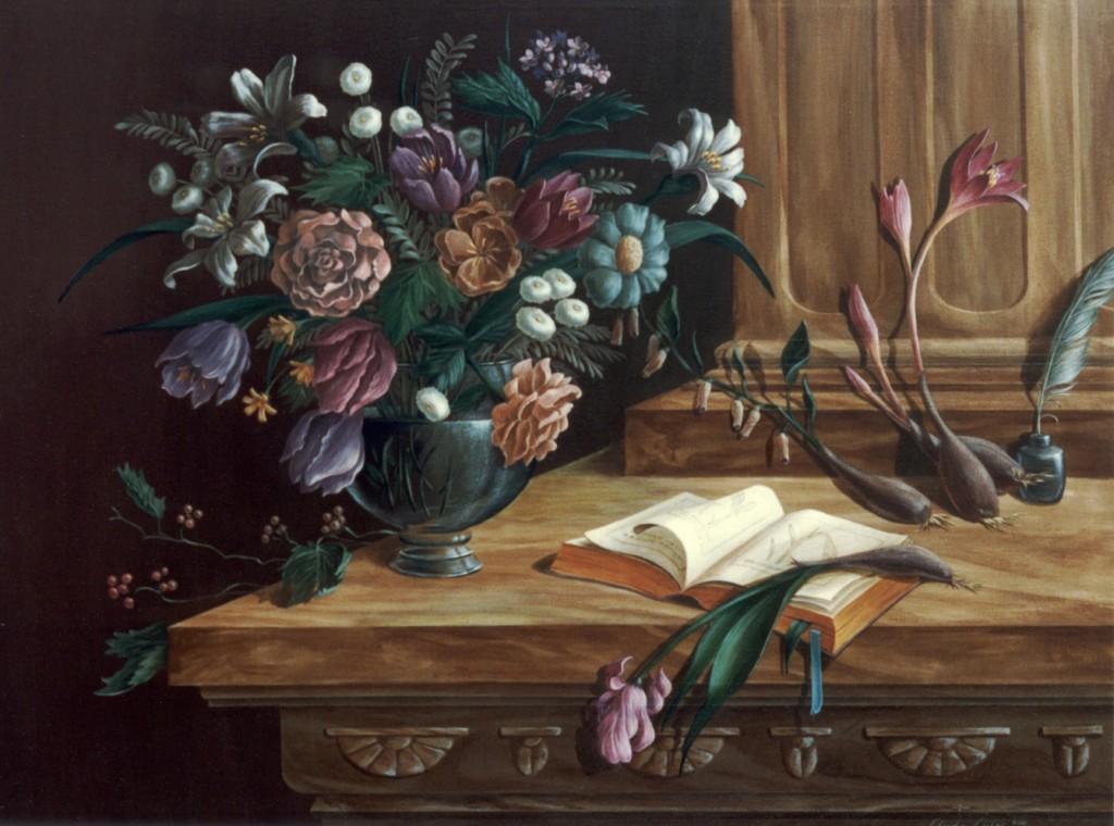 a StillLifeFlowerVaseWith BotanicalBook1
