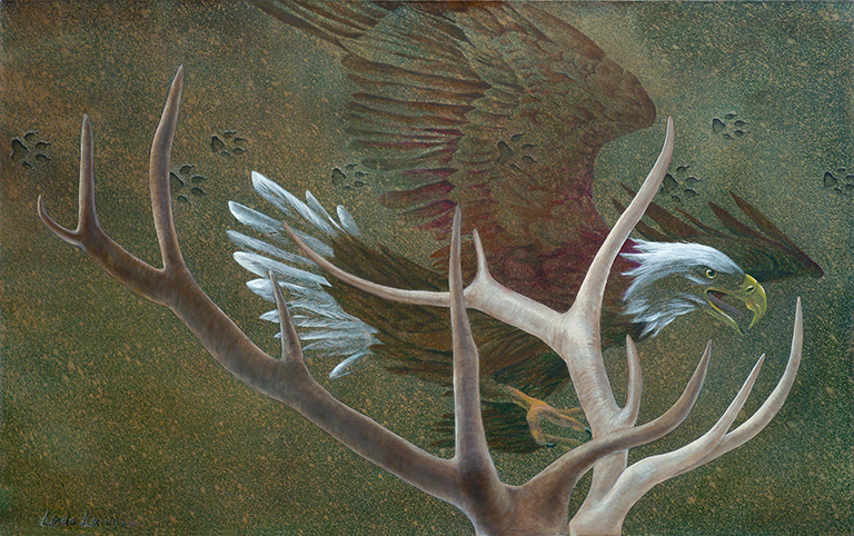 "Bald Eagle, Elk and Wolf Prints. Painting on canvas: 6'6""x4' (available)."