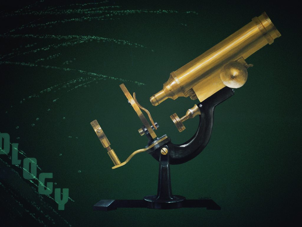 Detail of a mural: an antique microscope painted on a dark green wall. Microscope is 4' tall. The swirls and specs in the background represent what is seen under the microscope.